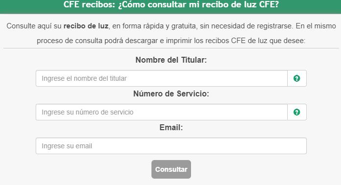 Consultar Adeudo CFE